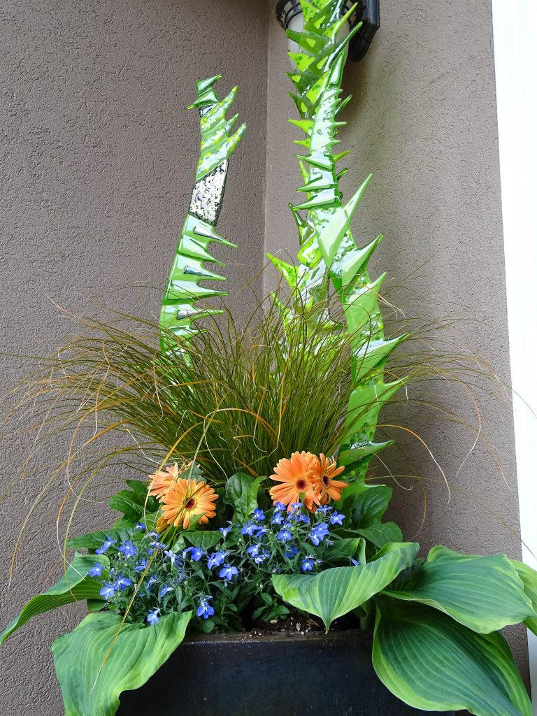 Simple Garden Container Planting with Cast Glass Reeds