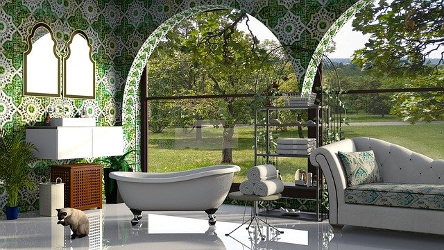 garden tub bathroom design plants