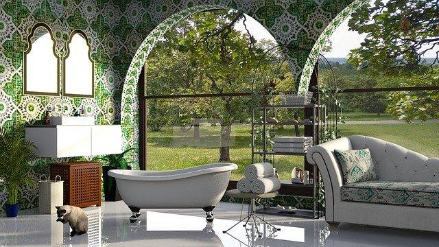 garden tub bathroom design plants